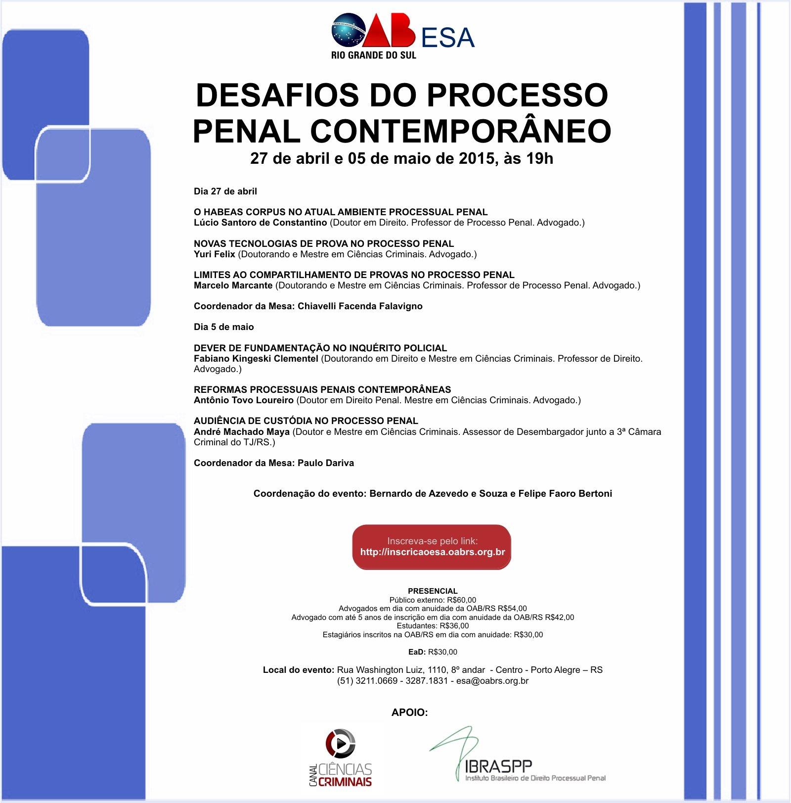 Evento – Desafios do Processo Penal Contemporâneo